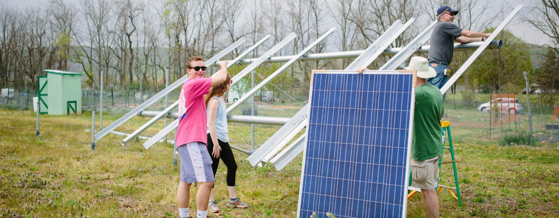 Installation of solar panels at lehigh community garden
